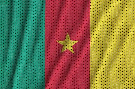 Cameroon flag printed on a polyester nylon sportswear mesh fabri