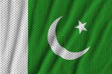 Pakistan flag printed on a polyester nylon sportswear mesh fabri