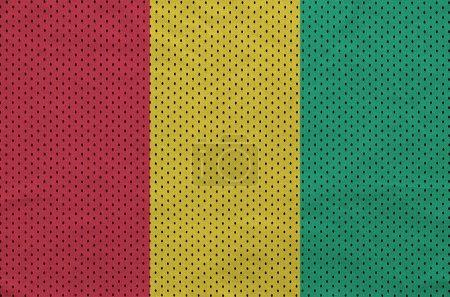 Guinea flag printed on a polyester nylon sportswear mesh fabric