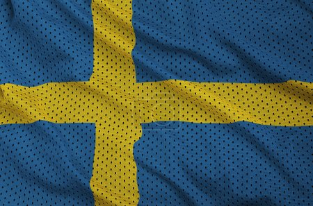 Sweden flag printed on a polyester nylon sportswear mesh fabric