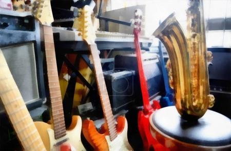 Photo pour Peinture numérique - groupe de guitares et de saxophones - image libre de droit