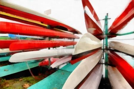 Digital art Painting - colorful canoes parked