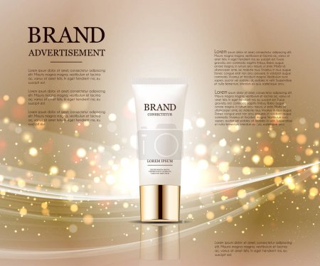 Cosmetic ads template, droplet bottle mockup isolated on dazzling background. Golden foil and bubbles elements. 3D illustration.