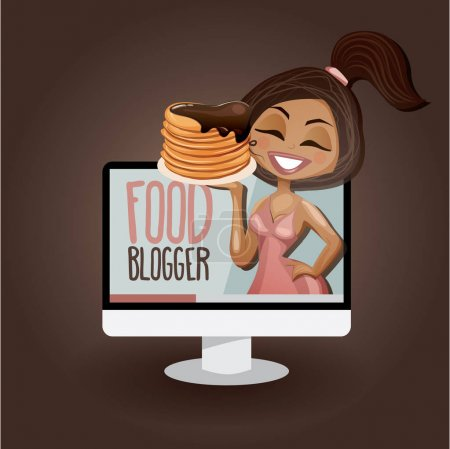 Photo for Cute girl with pancakes video blogger. Vector illustration in cartoon style. Youtuber. Food blogger. - Royalty Free Image