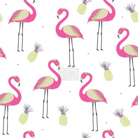 Seamless pattern with pink flamingo and pineapples for baby girl shower invitation, wallpaper, textile or other design