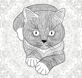 Plinth for t-shirts vector Coloring pages for adults antistress hand painted cat with tribal pattern Abstract mandala flower