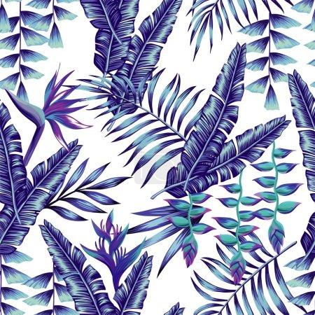 Illustration pour Fleur tropicale motif sans couture papier peint d'impression plante d'été une feuille de palmier de banane dans un style bleu à la mode. Fond vectoriel jungle hawaïenne - image libre de droit