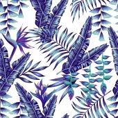 """Постер, картина, фотообои """"синие тропические цветы и пальмовых листьев бесшовный фон"""""""