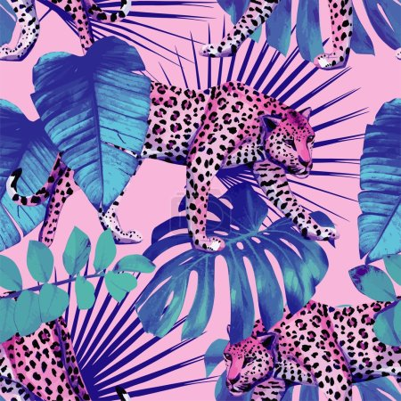 Illustration for Seamless vector painting wallpaper plants hawaii tropic summer palm leaves with leopard pattern in trendy blue style on pink background - Royalty Free Image