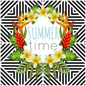 tropical flowers and leaves mirror round geometric background