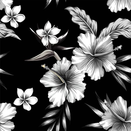Illustration pour Fleurs d'hibiscus tropicaux, plumeria et oiseau de paradis en composition avec des feuilles de palmier bananier. Imprimez un motif vectoriel floral estival sans couture tendance dans un style noir et blanc - image libre de droit