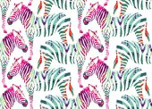 Painting hand drawn animal multicolor zebra on a white background Fashion art jungle safari print vector seamless pattern