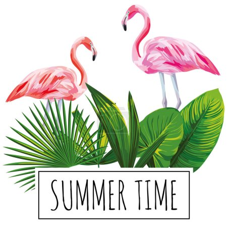 Slogan summer time tropical leaves flamingo white background
