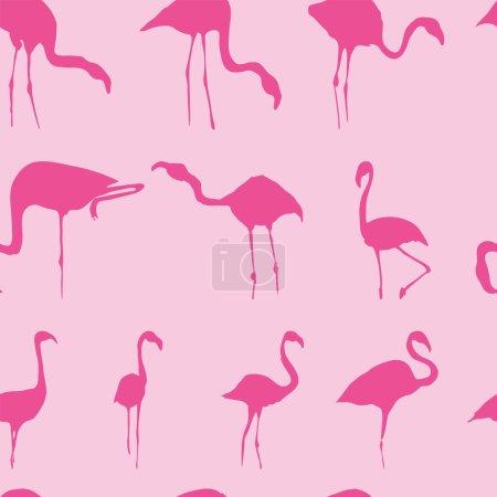 Silhouette of flamingos seamless pattern