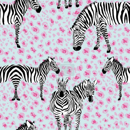 zebra mirror style leopard background seamless pattern