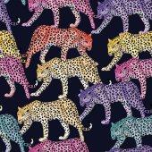 multicolor leopard pattern seamless dark blue background