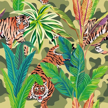 Tiger in the tropical jungle brown military background