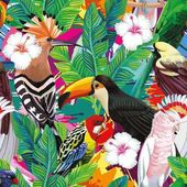 Seamless a composition of tropical bird toucan parrot hoopoe and palm leaves with white hibiscus flowers on multicolor background painted with a brush