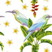 Spring composition of tropical birds flowers and palm leaves Vector summer seamless illustration wallpaper on a white pattern background