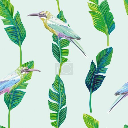 tropical bird palm leaves green background