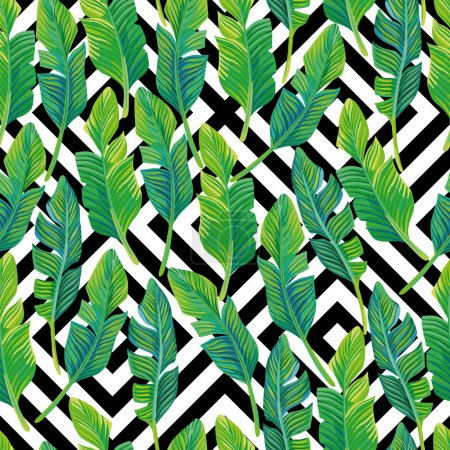 Palm leaves seamless pattern black white geometric background