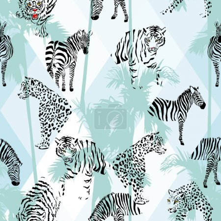 Illustration for Exotic beach trendy seamless pattern, patchwork illustrated tropical animals vector. Jungle zebra, tiger, lion, panther Wallpaper print tropic palm trees background mosaic - Royalty Free Image