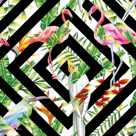 Tropical birds leaves seamless geometric background
