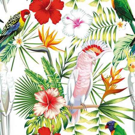 Parrot tropical flowers and leaves seamless pattern white backgr