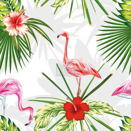 Composition exotic birds flamingos plants flowers light backgrou