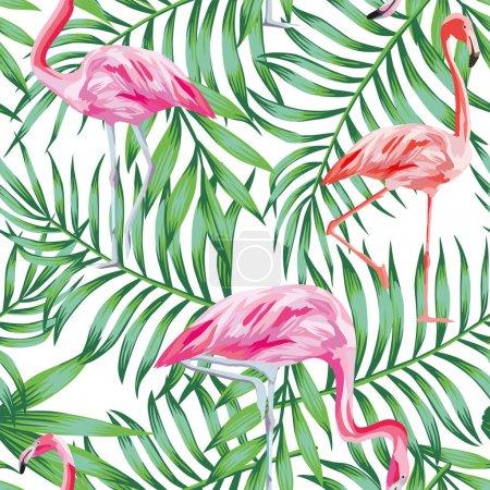 Illustration pour Modèle vectoriel sans couture d'oiseaux tropicaux flamant rose sur un fond de feuillage vert - image libre de droit