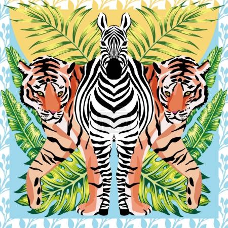 Zebra and tiger with tropical leaves, sun mirror style