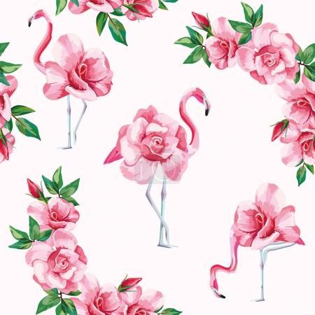 Flamingo roses seamless pattern white background