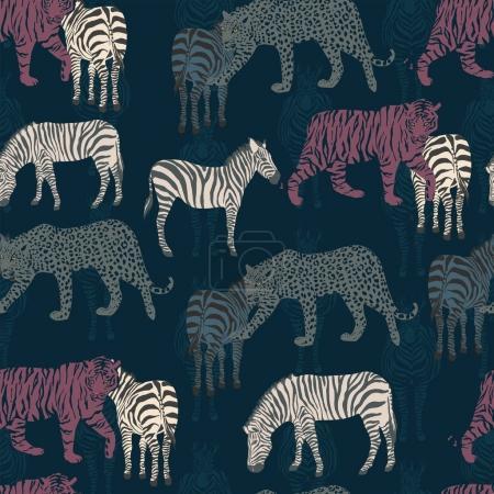 Abstract seamless pattern zebra tiger panther dark blue backgrou