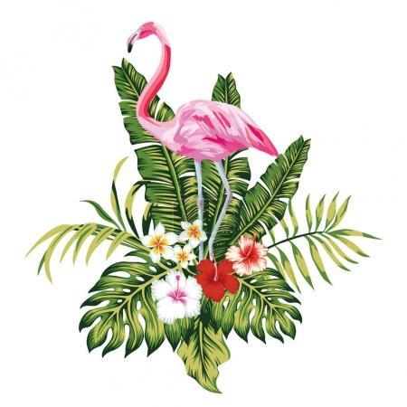 Illustration pour Oiseaux exotiques flamant rose, feuilles et fleurs de palmiers tropicaux, jungle plage sans couture vecteur motif floral fond blanc - image libre de droit