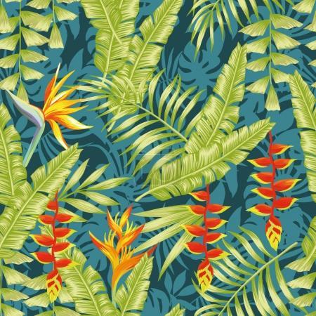 Illustration pour Composition exotique colorée dessinée à la main fleurs tropicales oiseau de paradis et de banane laisse motif sans couture fond jungle nuit - image libre de droit