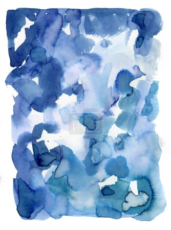 Surreal blue gradient watercolor paint wash on paper. Abstract p
