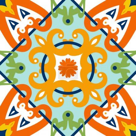 Illustration for Oriental traditional ornament, Mediterranean seamless pattern, tile design, vector illustration. - Royalty Free Image