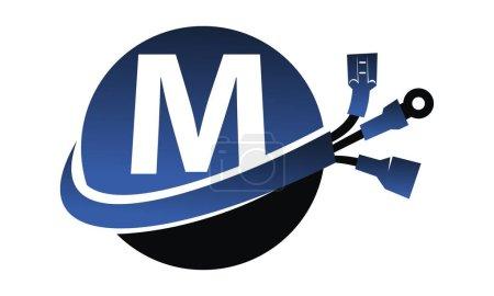 Illustration pour Lettre mondiale sur l'électricité M - image libre de droit