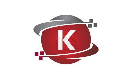 Ilustración de Tecnología transferencia letra K - Imagen libre de derechos