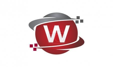 Ilustración de Tecnología transferencia letra W - Imagen libre de derechos
