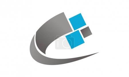 Ilustración de Vector de plantilla de tecnología transferencia logotipo diseño - Imagen libre de derechos