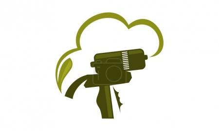 Illustration for Foam Gun Insulation Logo Design Template Vector - Royalty Free Image