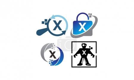 Ilustración de Aplicación de tecnología X conjunto de plantillas - Imagen libre de derechos