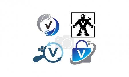 Ilustración de Tecnología conjunto de plantillas de aplicación V - Imagen libre de derechos
