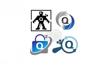Ilustración de Tecnología conjunto de plantillas de aplicación Q - Imagen libre de derechos