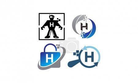 Ilustración de Tecnología conjunto de plantillas de aplicación H - Imagen libre de derechos