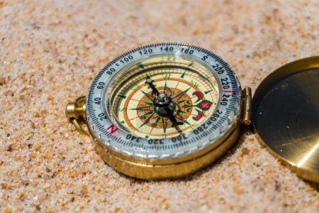 Compass in the sand on the beach. summer time