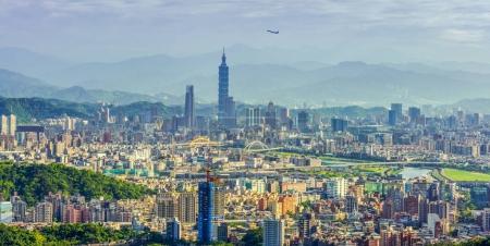 Aerial panorama of Downtown Taipei, capital city of Taiwan