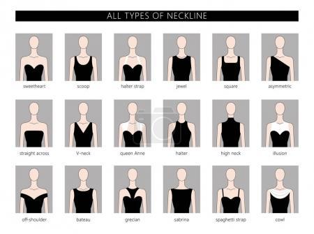 Illustration pour Ensemble d'illustrations vectorielles de différents types d'encolure pour la mode féminine. Vecteur en style linéaire plat . - image libre de droit