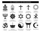 Religion icons set set of 19 religion black icons: buddhism christianity judaism hinduism islam Vector symbols of religions